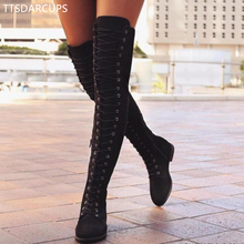 Sexy Lace Up Over Knee Boots Women rome style Boots Women Flats Shoes Woman suede long Boots Winter Thigh High Boots 35-43