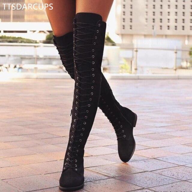 Sexy Lace Up Sobre o Joelho Botas Mulheres Botas estilo roma Mulheres Sapatos Flats Mulher camurça Botas longas Botas de Inverno Coxa Alta botas 35-43