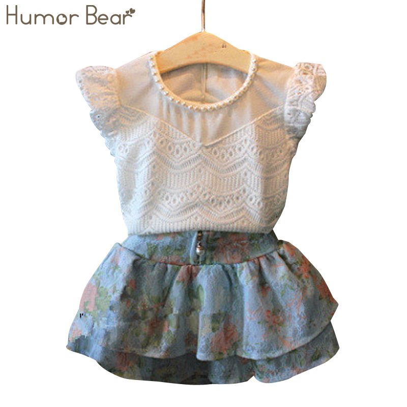 Humor Bear Summer2016 New Children Girl's 2PC Sets Skirt Suit baby Clothing sets flowers skirt dots pants girls clothes 2016 new summer baby sport suit 100