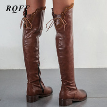 Knee High Boots Women New Autumn Winter Square Med Heel Fashion Shoes Pu Leather Motorcycle Boot Round Toe Ladies Shoe Black new fashion shoes boots for women genuine leather motorcycle boots round toe casual autumn winter women knee high boots