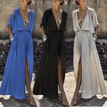 2019 Women Long Maxi Dresses Bohemia V-neck Half Sleeve Solid Ethnic Summer Beach Female Split Stylish Style Dress stylish turtle neck half sleeve solid color women s jumper