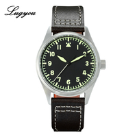 LUGYOU San Martin Watch Pilot Flight for Men Automatic Watch Stainless Steel 20ATM NH35 Leather Strap C3 Green Luminous 39mm