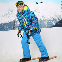 For 30 Degree Warm Coat Sporty Ski Suit Waterproof Windproof Boys Jackets Kids Clothes Sets Children