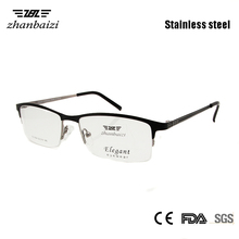 ZBZ Optical Men Glasses Clear Spectacle Frame Half Rim Eyewear High Quality Metal Nerd Glass Gents Man oculos Accept Rx Lens 266 pcs optical trial lens set metal rim leather case free trial frame gift