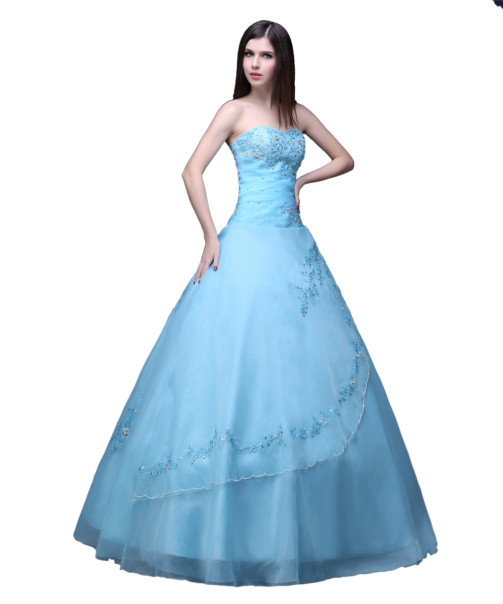 Light Blue Quinceanera Dresses Ball Gown Long Puffy Crystal ...