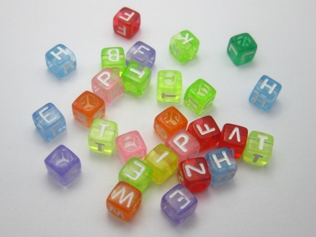 diy beads acrylic beads material 6mm letter beads transparent blended color fang zhu