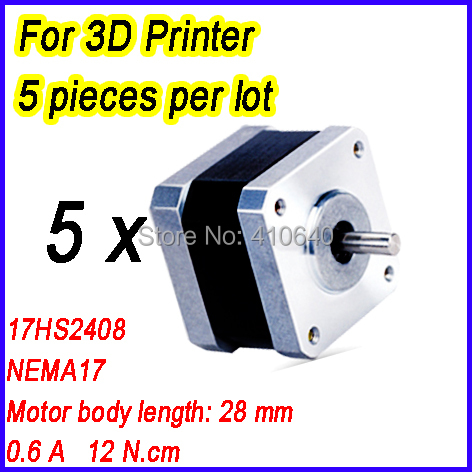 3D Printer NEMA 17 Stepper Motor 17HS2408 L28 mm 1.8 deg 0.6 A 12 N.cm 4 Wires  FREE SHIPPING! 5 pieces per lot