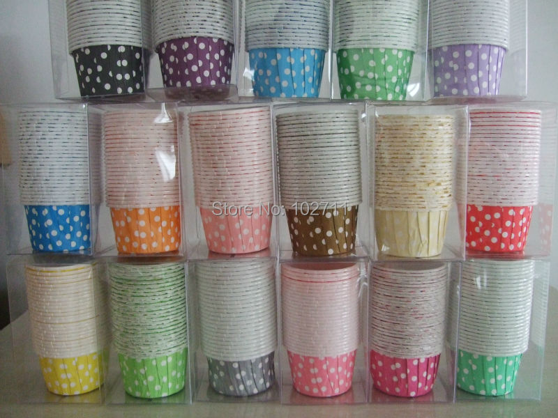 400 Polka Dots Stripes Candy Nut cups Baking cupcake muffin liners Ice cream dessert standard size