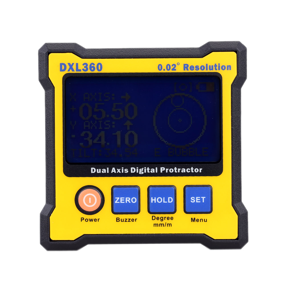 DXL360 High accuracy Dual Axis Digital Angle Protractor Angle meter Dual-axis Digital Level gauge with 5 Side Magnetic Base lixf dxl360s digital lcd protractor inclinometer single dual axis level box 0 01 degree