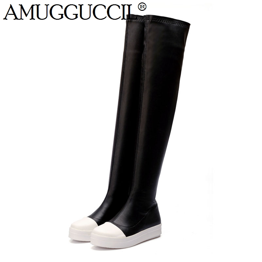 2018 New Plus Big Size 34-43 Black Wine-red Stretch Fashion Sexy Over the Knee Thigh High Females Womens Girls Boots X1223