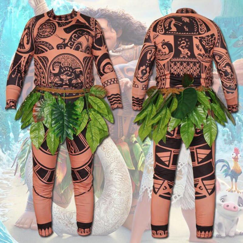 Halloween Marine Romance Maui Cosplay Costumes For Men 3D Tattoo Printing One Pieces Anime Party Fantasia Adult Kid Clothing