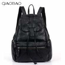 QIAOBAO 2017 100% Натуральная Кожа Рюкзак Корейской моды Натуральной Кожи сумка простой многофункциональный аппаратные замок сумки на ремне,