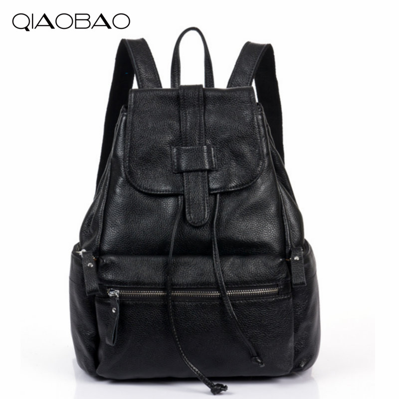 QIAOBAO 2018 100% Natural Leather Backpack Korean fashion Cowhide Leather bag simple multi-functional hardware lock shoulder bag qiaobao 2018 new leather backpack cowhide shoulder bag fashion korean version of the wave backpack simple fashion bag