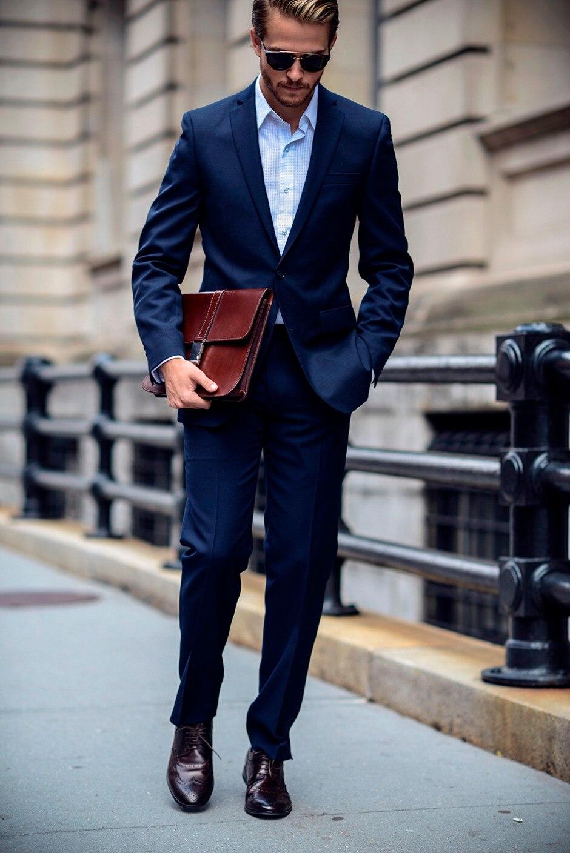 Dark Blue Blazer Men Two Buttons Business Slim Fit Men Suit 2017