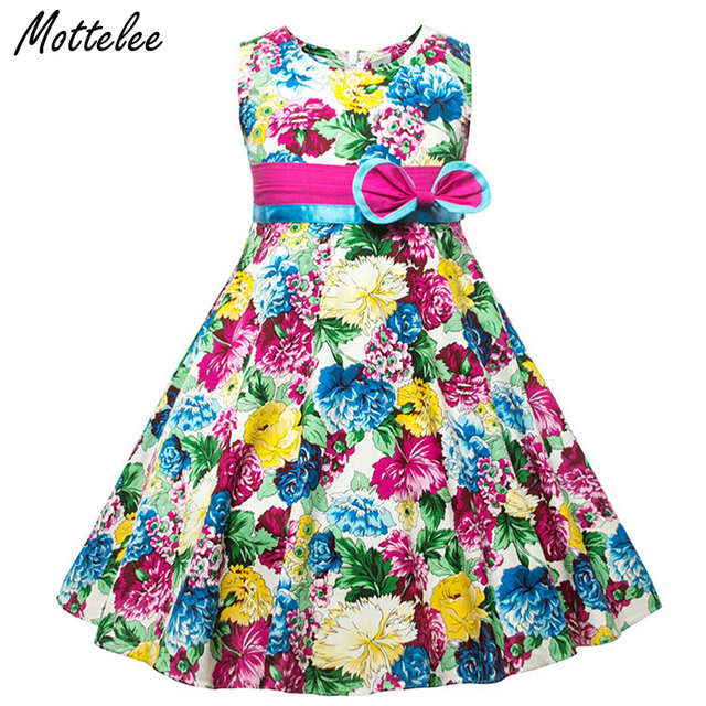 644ebf4ef Mottelee Girls Dress Big Flower Kids Dresses Sleeveless Children ...