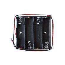 100 x AA caja de almacenamiento de batería soporte de caja de plástico con Cable de 6 plomo para 4 Uds pilas AA para soldar conectar negro Nuevo