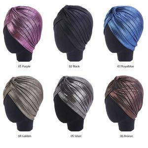 Image 2 - נשים הודי טורבן כובע ראש לעטוף כיסוי שיער אובדן סרטן חמו כובע קפלים כובע מוסלמי מצנפת בימס Skullies ערבי מטפחת כובע