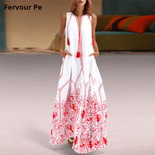 019686de948 New hot Women s Clothing Oriental Flower Vintage Tassel red Long sun dresses  party Summer Sleeveless Loose Plus large Size 3XL