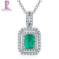 Lohaspie Diamond ювелирные изделия SOLID 18 К белого золота 0.2ct натуральный gemtone Изумрудный кулон Изысканные ювелирные изделия камня может рождения по