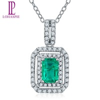Lohaspie Solid 18K White Gold 0 2ct Natural Emerald Single Cut SI1 Diamonds Pendant Necklace For