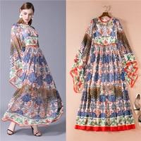 high street elegant italian style casual boho women long maxi dress autumn 2018 floral printed leopard flare dresses chiffon xl