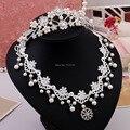 Свадебные аксессуары горный хрусталь тиару жемчужное ожерелье ткань две пьесы костюм горячие ожерелье ювелирные изделия