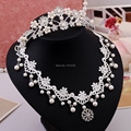 Wedding accessories rhinestone tiara pearl necklace fabric two pieces suit hot necklace jewellery