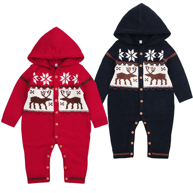 Fashion Knitting Jumpsuit Girls Baby Christmas Cartoon Deer Clothes Unisex New Year Gift Newborn Baby Boy Romper Twins Clothes