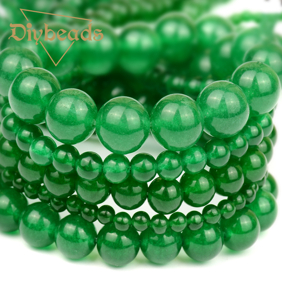 Natural Round Smooth Green Malay Jade Quartz Beads Loose Bead For DIY Jewellery Necklace Bracelet Making 4/6/8/10/12mm Diybeads