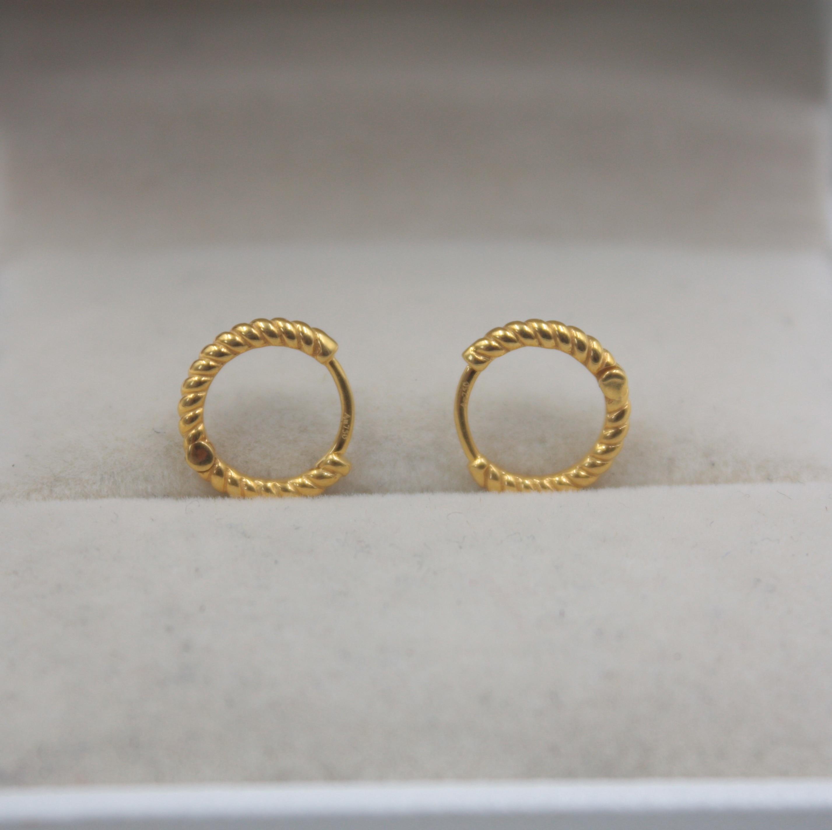 Boucles d'oreilles en or jaune 18 K véritable modèle de corde parfaite femme cerceau chanceux 11 mmDia pour femmes fille 1.2-1.3g bijoux