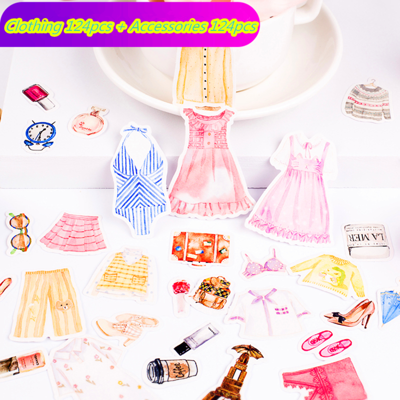 248pcs Cute Girl Dress Clothing Jewelry For Car  Bike Motorcycle Phone Laptop Travel Luggage Cool Funny Sticker Bomb Decals