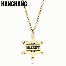 Fashion Gold Color Jewelry Five-star Sheriff Star Pendant Necklace Women Men Hip Hop Necklace Chain Sweat Letter Necklace Colar(China)