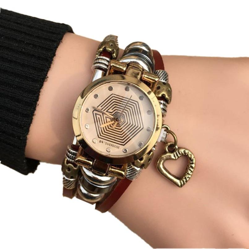 Excellent Quality Women Leather Bracelet Watch Women Dress Watches Angel Wing Pendant Vintage Quartz Analog WristWatch
