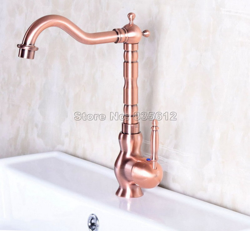 ФОТО NEW Antique Red Copper Swivel Spout Kitchen Sink Faucet / Single Handle Vessel Sink & Basin Mixer Taps Deck Mounted Wnf134