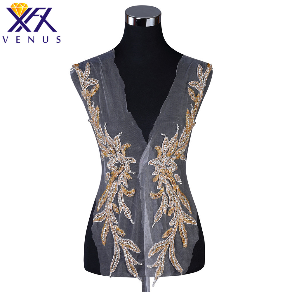 XFX VENUS Pretty Sewing Stone Beads Large Beaded Patches Rhinestone Bridal Bodice Appliques Crystal Patch For Dresses