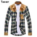 TANGNEST Men Shirt Vintage Hot-selling Men's Fashion Plaid Splicing Shirt Male Casual Long-sleeved Shirt High Quality MCL090