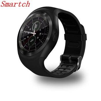 Smartch Y1 Relógio Inteligente 1,54 Tela Sensível ao Toque Rastreador de Atividade de Fitness Monitor de Sono Pedômetro Calorias Suporte de faixa SIM card solt meanit m5