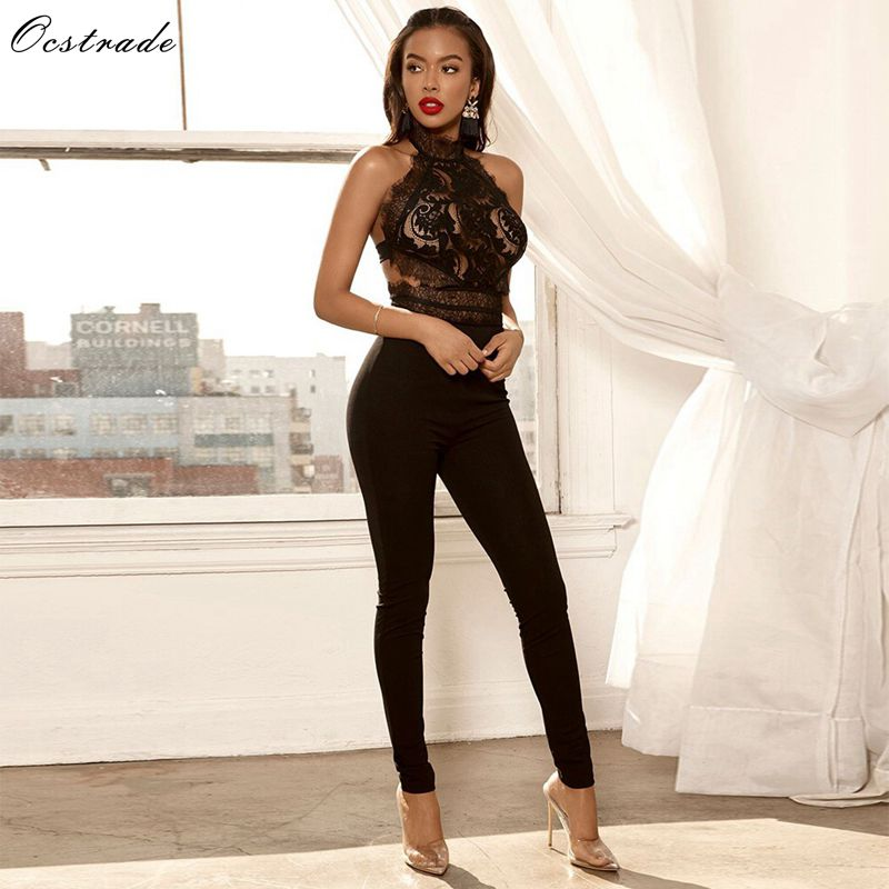 Ocstrade New Bodycon   Jumpsuits   2019 for Women Black Sexy Rompers Bandage   Jumpsuit   Party Backless Lace Bandage   Jumpsuit   Rayon