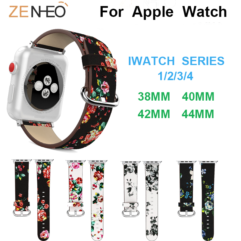 Printing Leather Band For Apple Watch Series 4 3 2 1 42MM 38MM 40mm 44mm Watch Bands Women Bracelet Watches Straps Wristband