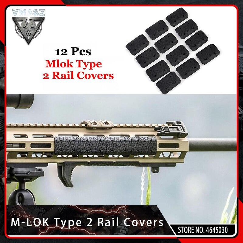 VMASZ 12PCS Taktische Mlok Typ 2 Rail Deckt eMag Pul Typ für M-lok SLOT System Schiene Panel für Outdoor Jagd Wargame Montieren