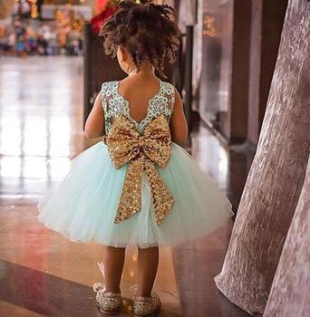 BOTEZAI 2017 lentejuelas encaje vestido infantil del vestido del verano de  ropa Bowknot vestido para niñas 1 2 3 4 5 años 764c94eb9f6