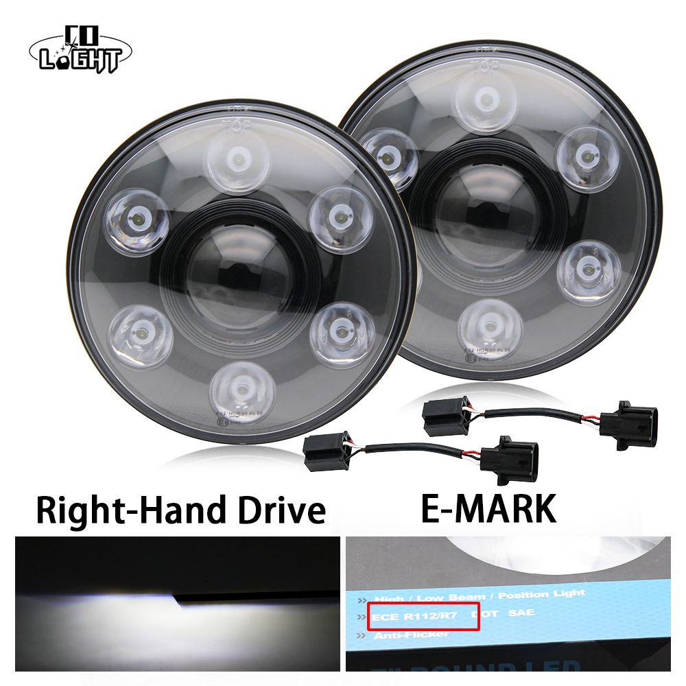 2Pcs Round 7 Inch Headlights H4 Led Car Headlight 3900Lm 2800Lm H13 Led Chip for 4X4 Off Road Jeep Lada Niva Uaz h4 7 led headlights with led car canbus led chip 80w 8000lm 6000k hi lo led driving light for off road uaz lada