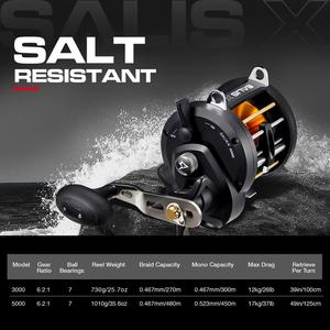 Image 2 - Piscifun Salis X Trolling Reel Up To 17KG Max Drag 6.2:1 Inshore Saltwater Baitcasting Fishing Reel Level Wind Conventional Reel