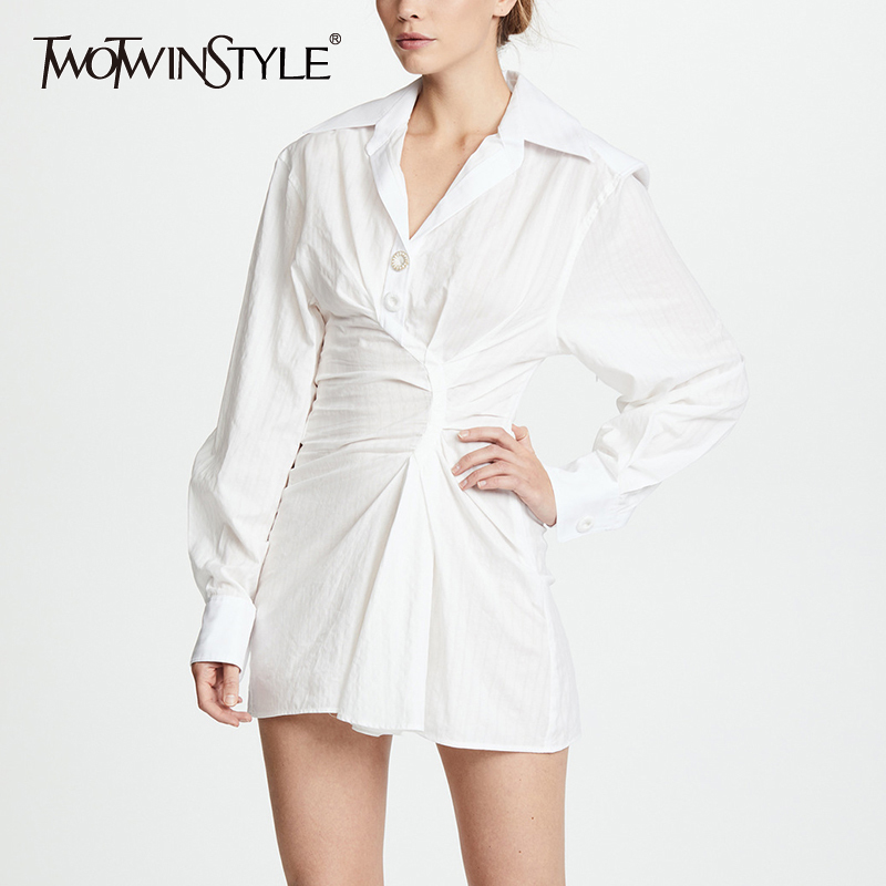 TWOTWINSTYLE Ruched Mini Dress Female Lapel Collar Lantern Sleeve Tunic Slim Sexy Dresses 2019 Spring Summer