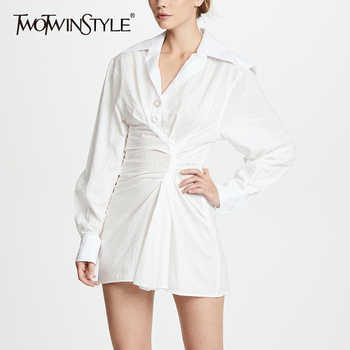 TWOTWINSTYLE Ruched Mini Dress Female Lapel Collar Lantern Sleeve Tunic Slim Sexy Dresses 2019 Spring Summer Fashion New Clothes - DISCOUNT ITEM  40% OFF All Category