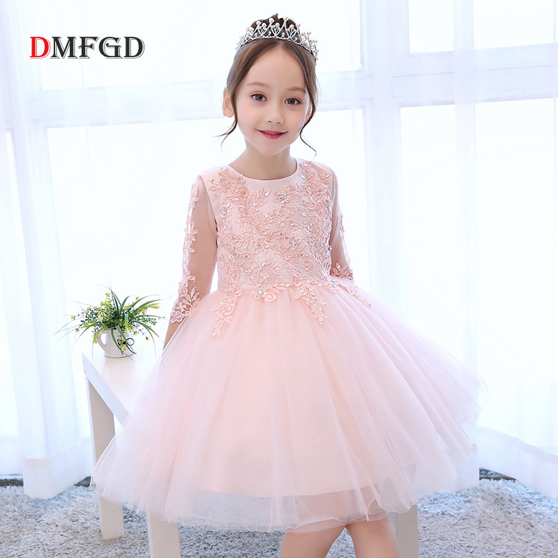 2018 Fashion summer children dresses for girls pink flower girl dress Luxury Children dance dress wedding party princess dresses