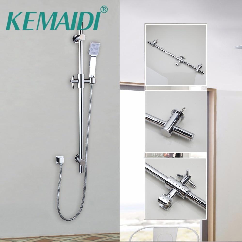 KEMAIDI Luxury Chrome Finished Bathroom Rainfall Shower Set Faucet Hand Shower Head Bath Wall Mounted Shower Spray цена