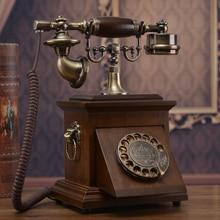 Mesa giratoria de madera sólida, teléfono de madera sólida, teléfono antiguo vintage