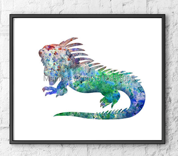 New kids children wall art decor living room home wall art decor abstract Green Iguana wall art printed animal picture painting