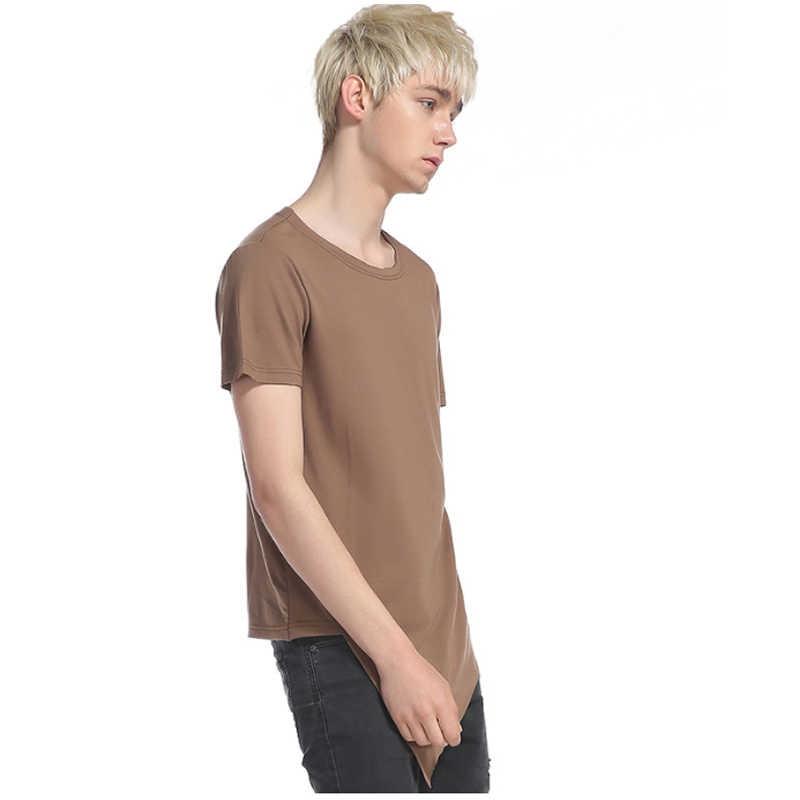 2109 Футболка мужская креативная Однотонная футболка с коротким рукавом мужская футболка с принтом длинная секция хипстерская Повседневная футболка